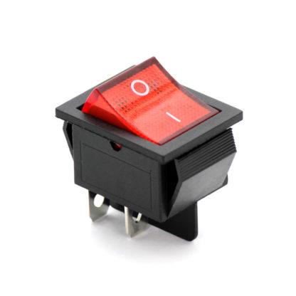 Переключатель (рокер) KCD4 с красной подсветкой