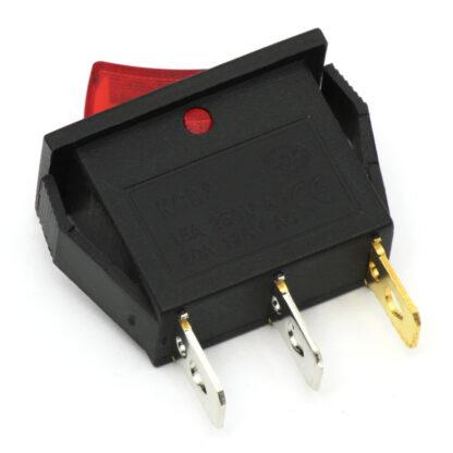 Переключатель (рокер) KCD3-101N с красной подсветкой (250 В, 15 А)