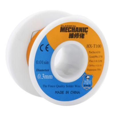 Припой-катушка MECHANIC HX-T100, 0.3 мм (50 г) с флюсом