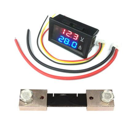 DC вольтметр / амперметр 0—100В / 0—100А с шунтом